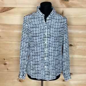 J. Crew black and white long sleeve silk blouse 6